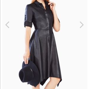 NWT BCBG Beatryce Faux Leather Shirt Dress